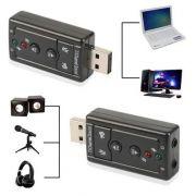 Adaptador Placa de Som USB 7.1 Canal Virtual