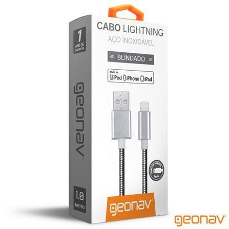 Cabo Carregador para Iphone USB Lightning Aço Cromado Blindado 1 metro LIGH14 Geonav