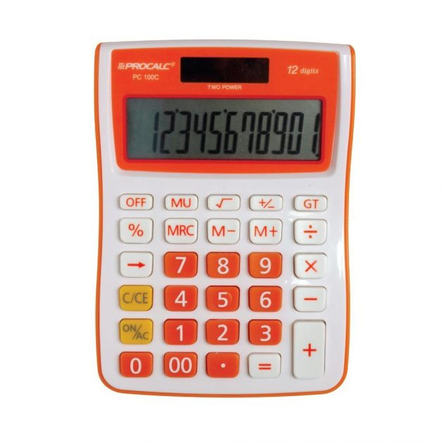 Calculadoa procalc PC100-0 12 digitos laranja