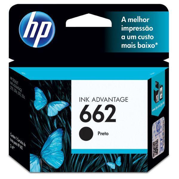 Cartucho HP 662 preto CZ103AB 2 ml