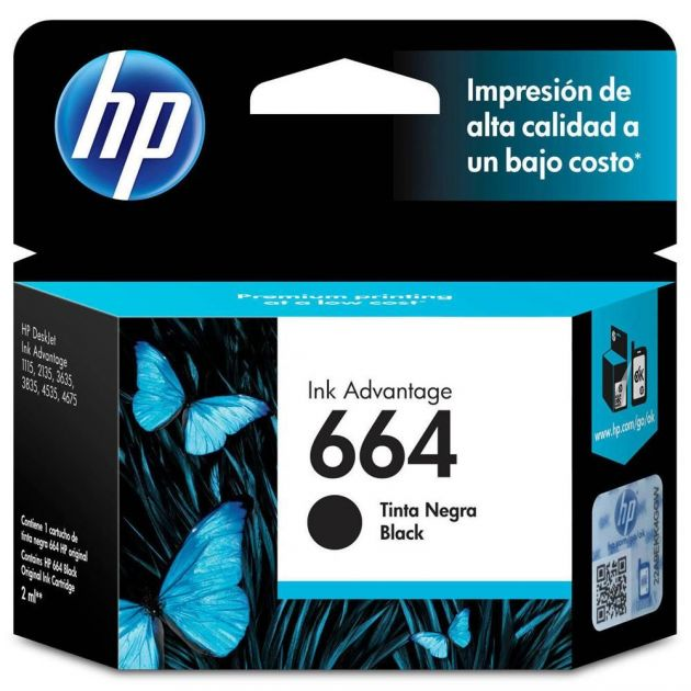 Cartucho HP 664 preto F6V29AB 2 ml