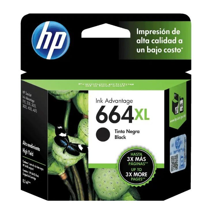 Cartucho HP 664XL preto F6V31AB 8,5 ml