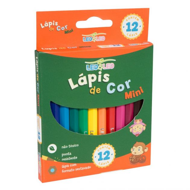 Lápis de Cor Leo&Leo mini 12 cores Sextavado