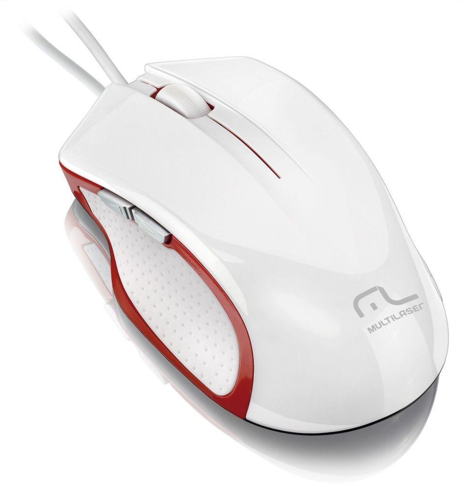 Mouse X-Gamer laser 6 botões MO202 Branco/Vermelho 2400 dpi multilaser