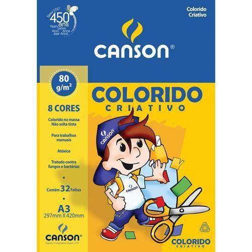 Papel Color Canson Criativo A3 80g 32 folhas 8 Cores Variadas Ref 66667089