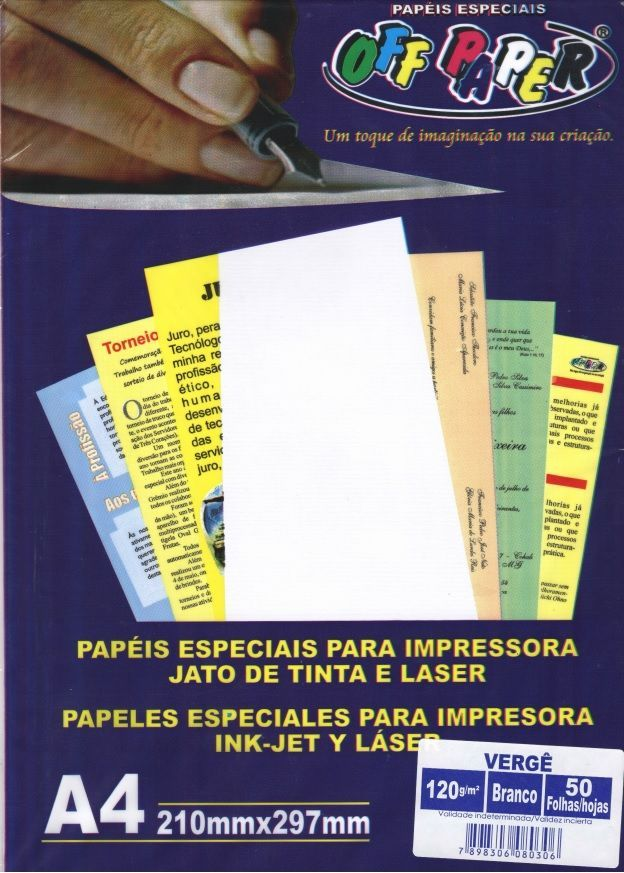 Papel Off Paper Verge branco 180 gr 050 fls