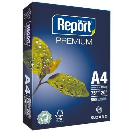 Papel sulfite 75g 210X297 A4 branco suzano Report 500 fls