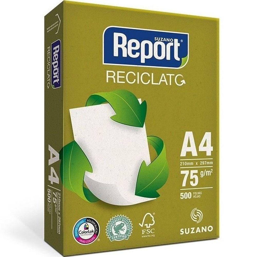 Papel Sulfite 75g 210X297 A4 Reciclado 500 Folhas