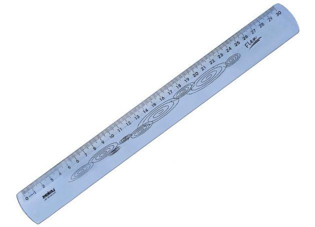 Régua 30cm flexivel azul Waleu