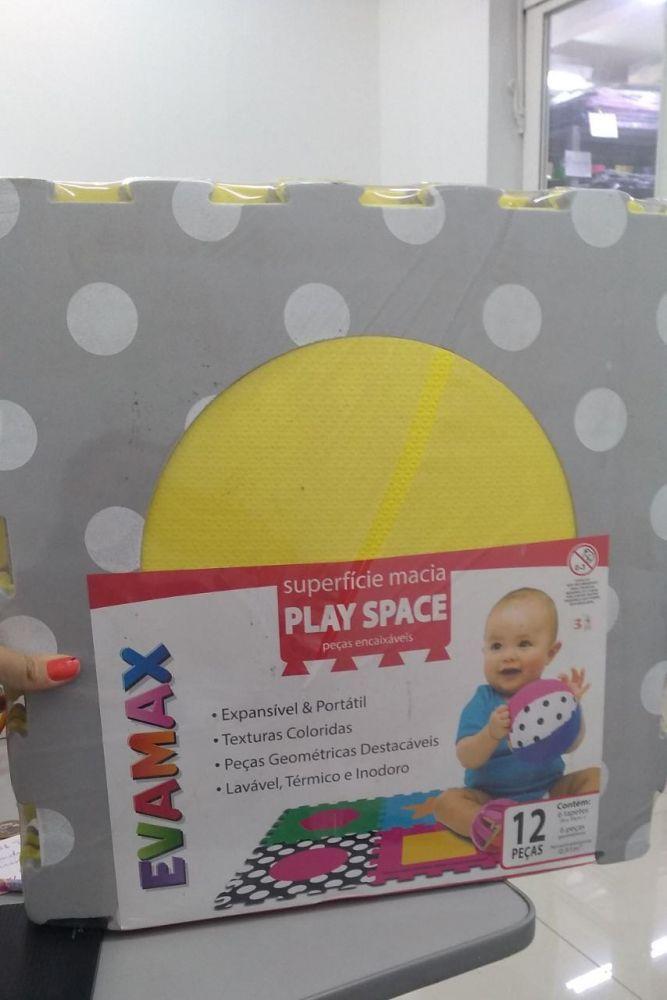 Tapete de Borracha EVA TX PLAY SPACE Cinza e Amarelo com 12 peças,  39cm x 39cm x 10mm, EVAMAX